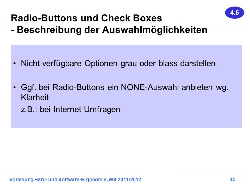 Radio-Buttons und Check Boxes - Beschreibung der Auswahlmöglichkeiten