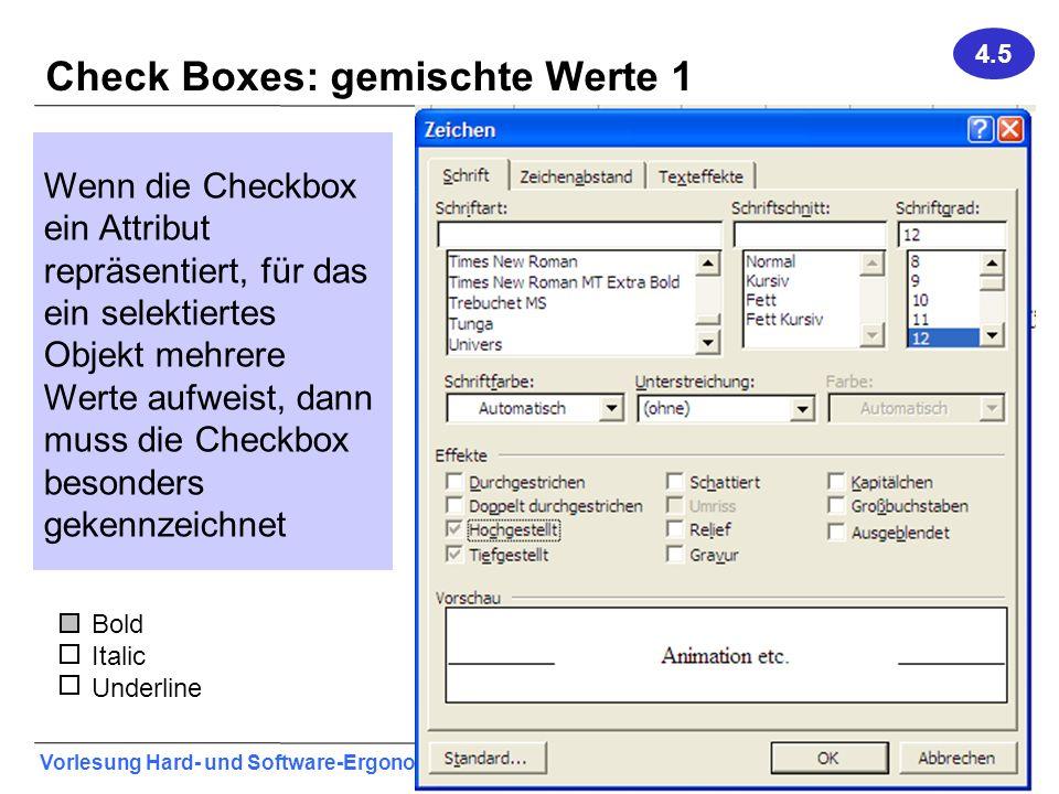 Check Boxes: gemischte Werte 1