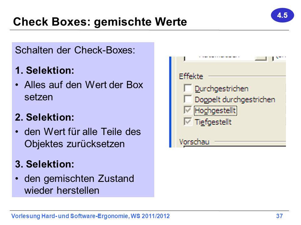 Check Boxes: gemischte Werte