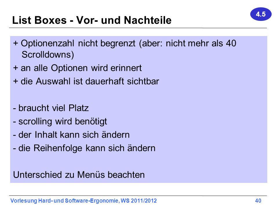 List Boxes - Vor- und Nachteile