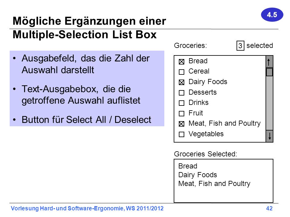 Mögliche Ergänzungen einer Multiple-Selection List Box