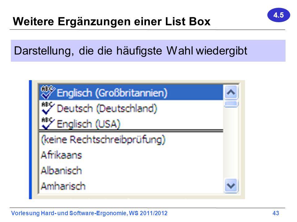 Weitere Ergänzungen einer List Box