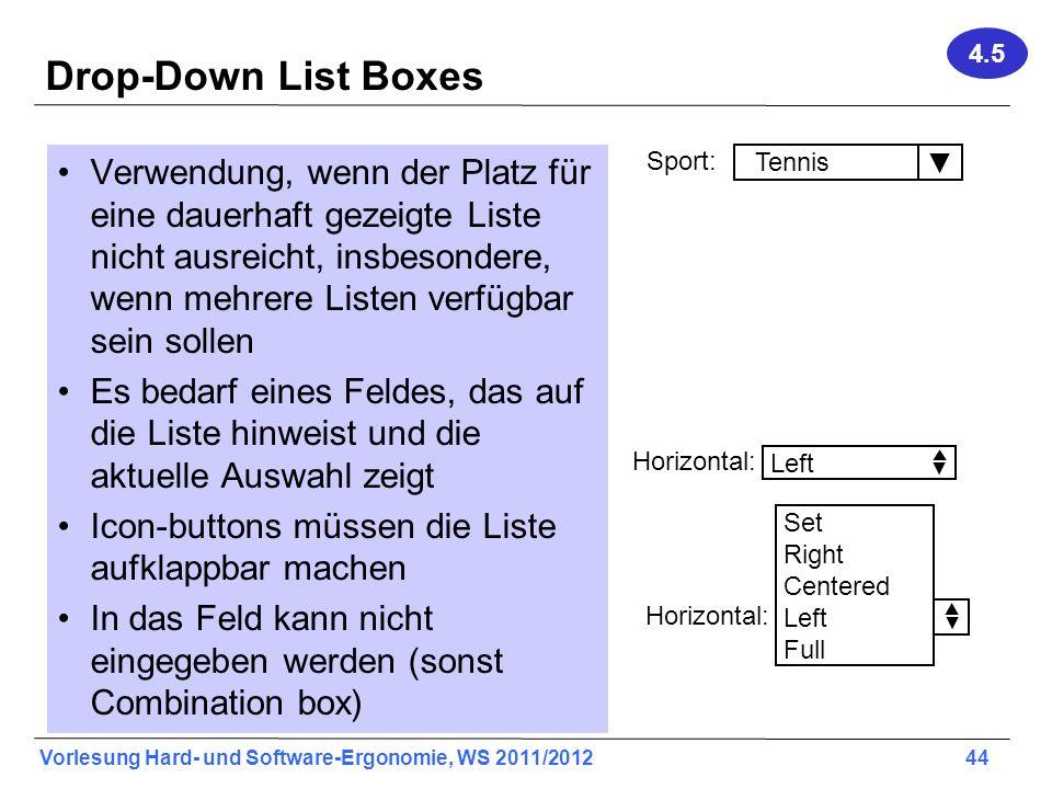 4.5 Drop-Down List Boxes.