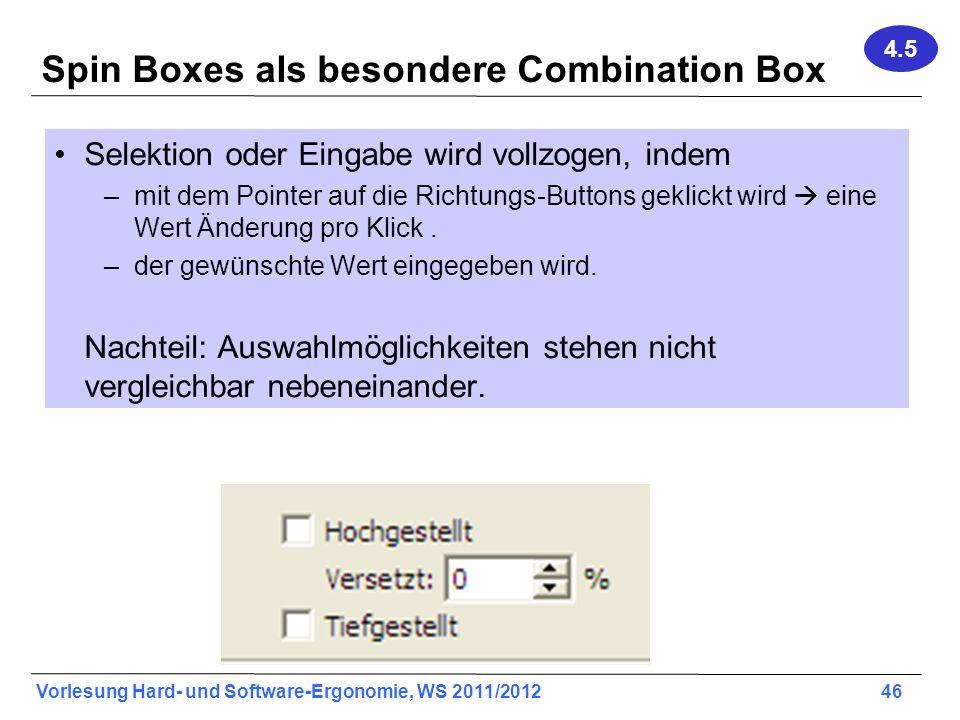 Spin Boxes als besondere Combination Box