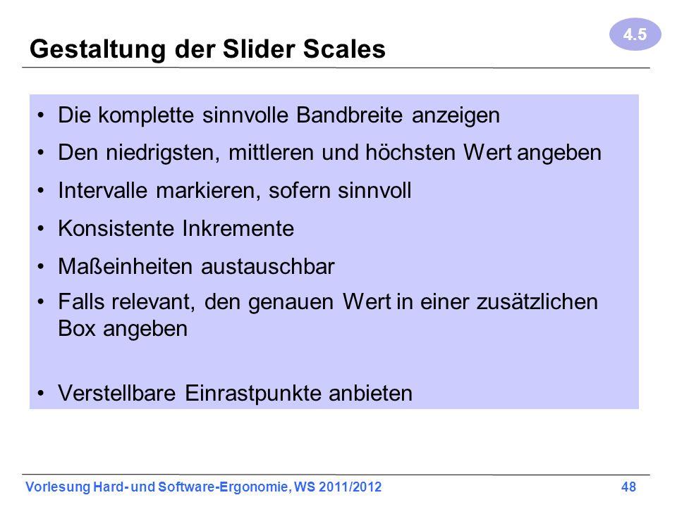 Gestaltung der Slider Scales