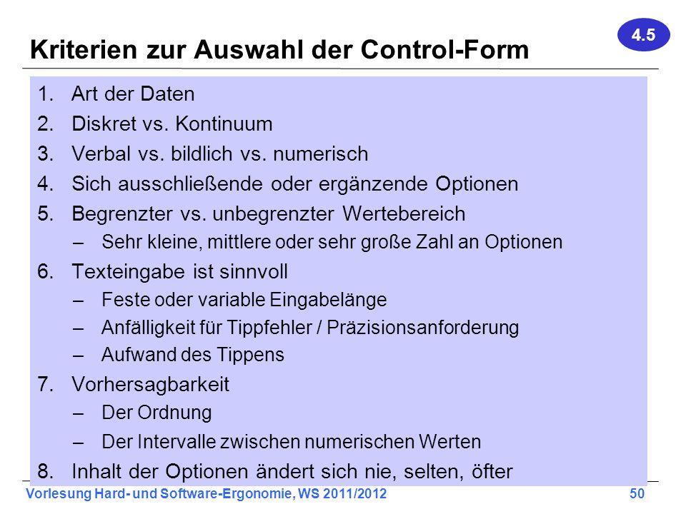 Kriterien zur Auswahl der Control-Form