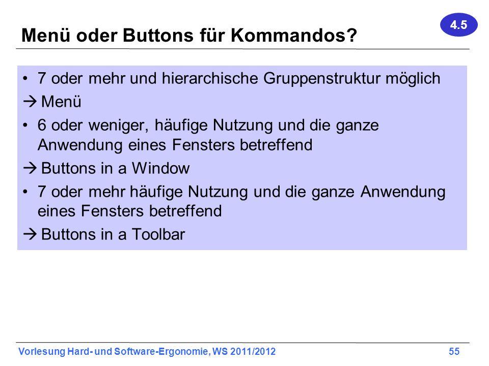 Menü oder Buttons für Kommandos