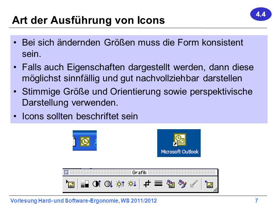 Art der Ausführung von Icons