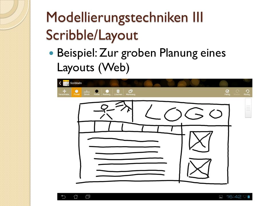Modellierungstechniken III Scribble/Layout
