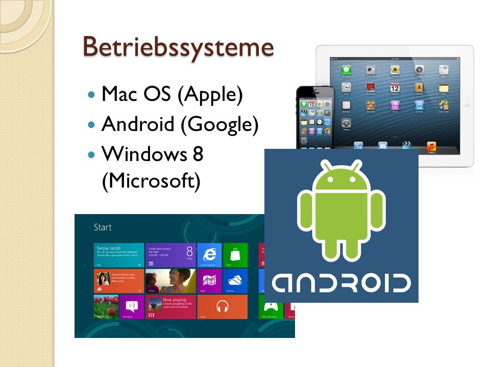 Betriebssysteme Mac OS (Apple) Android (Google) Windows 8 (Microsoft)