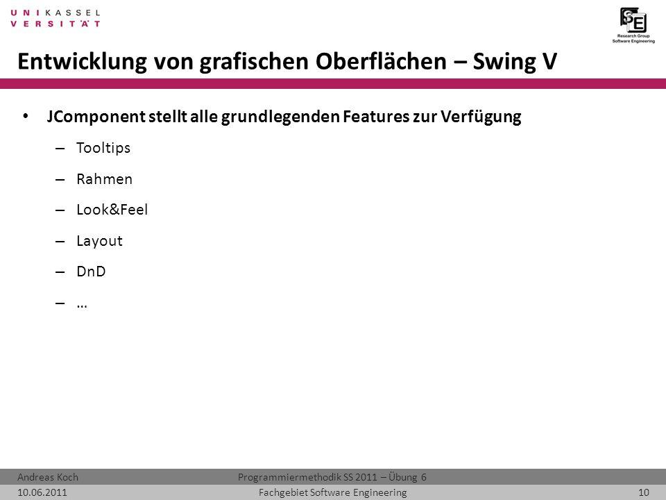 Entwicklung von grafischen Oberflächen – Swing V