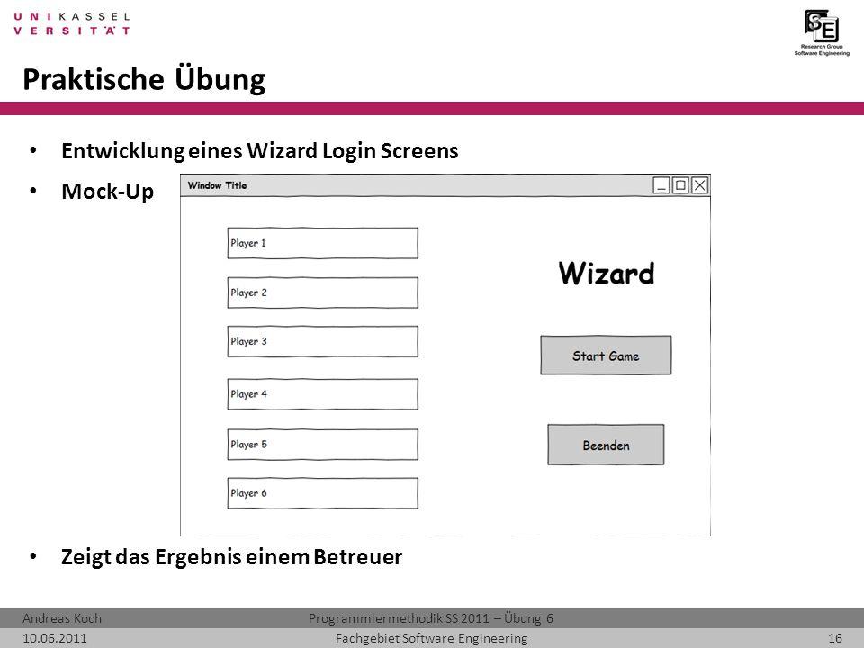 Praktische Übung Entwicklung eines Wizard Login Screens Mock-Up