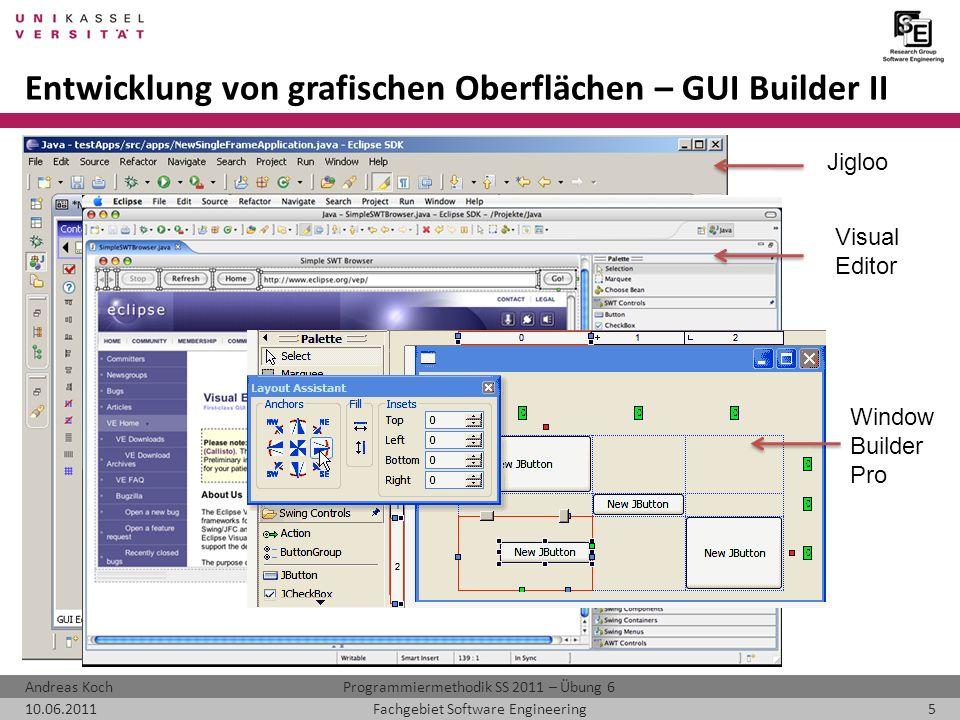 Entwicklung von grafischen Oberflächen – GUI Builder II