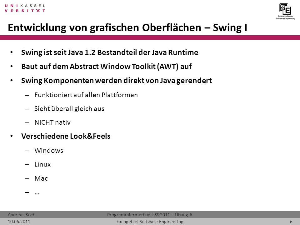 Entwicklung von grafischen Oberflächen – Swing I