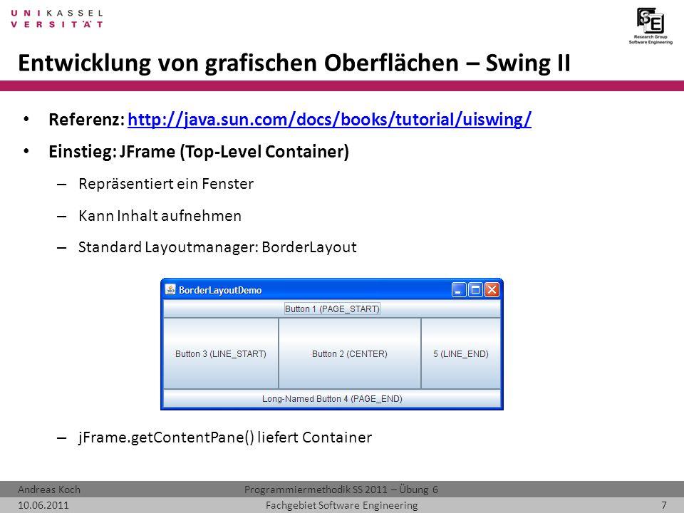 Entwicklung von grafischen Oberflächen – Swing II