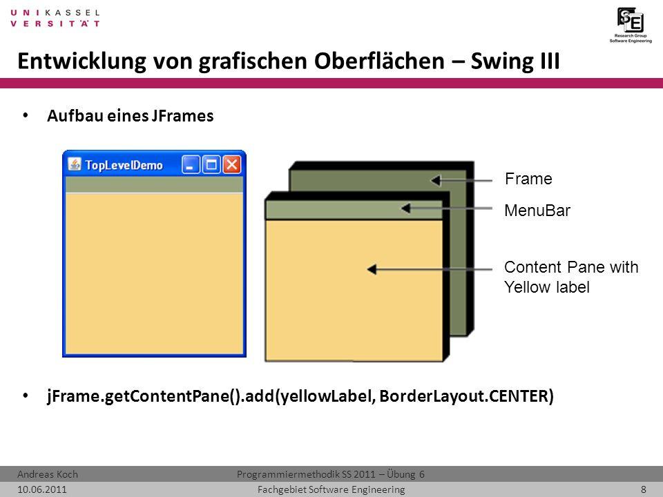 Entwicklung von grafischen Oberflächen – Swing III