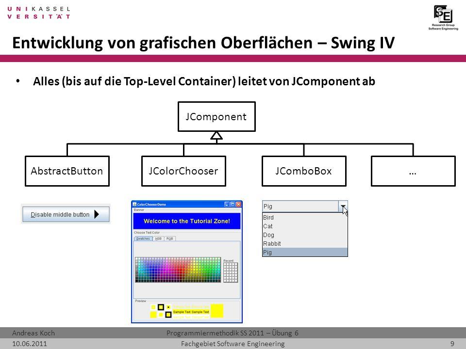 Entwicklung von grafischen Oberflächen – Swing IV