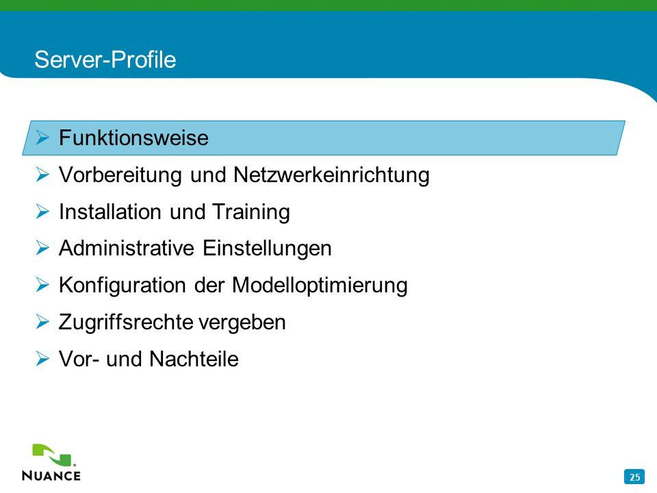 Server-Profile Funktionsweise Vorbereitung und Netzwerkeinrichtung
