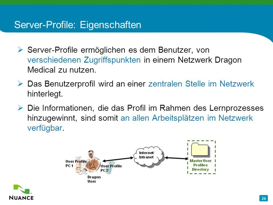 Server-Profile: Eigenschaften
