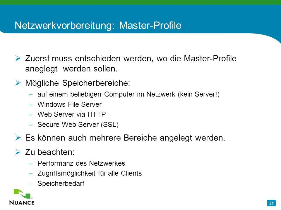Netzwerkvorbereitung: Master-Profile