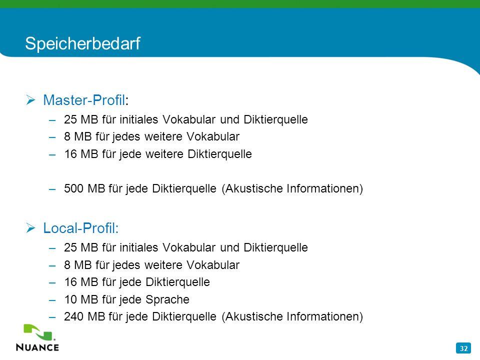 Speicherbedarf Master-Profil: Local-Profil: