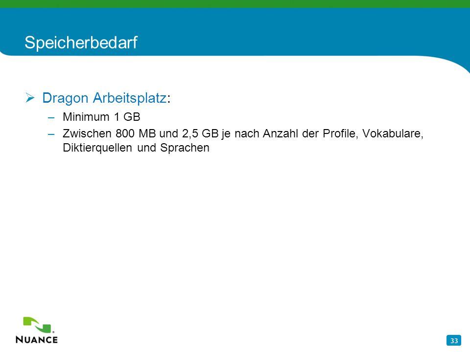 Speicherbedarf Dragon Arbeitsplatz: Minimum 1 GB