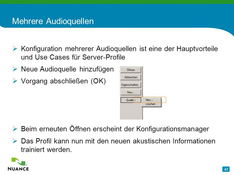 Mehrere Audioquellen Konfiguration mehrerer Audioquellen ist eine der Hauptvorteile und Use Cases für Server-Profile.