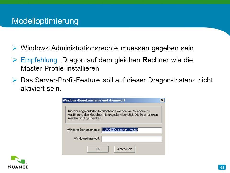 Modelloptimierung Windows-Administrationsrechte muessen gegeben sein