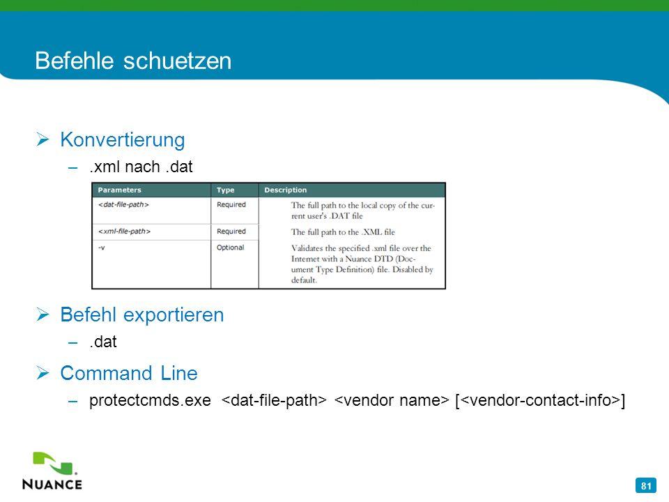 Befehle schuetzen Konvertierung Befehl exportieren Command Line