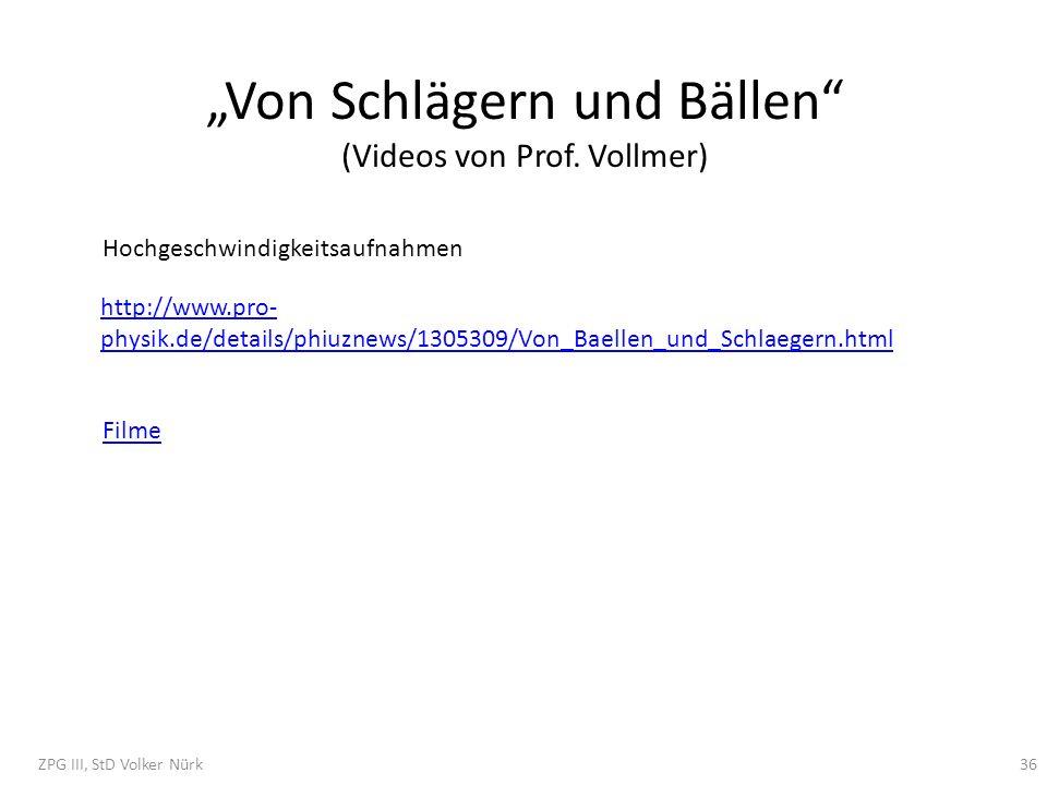 """""""Von Schlägern und Bällen (Videos von Prof. Vollmer)"""