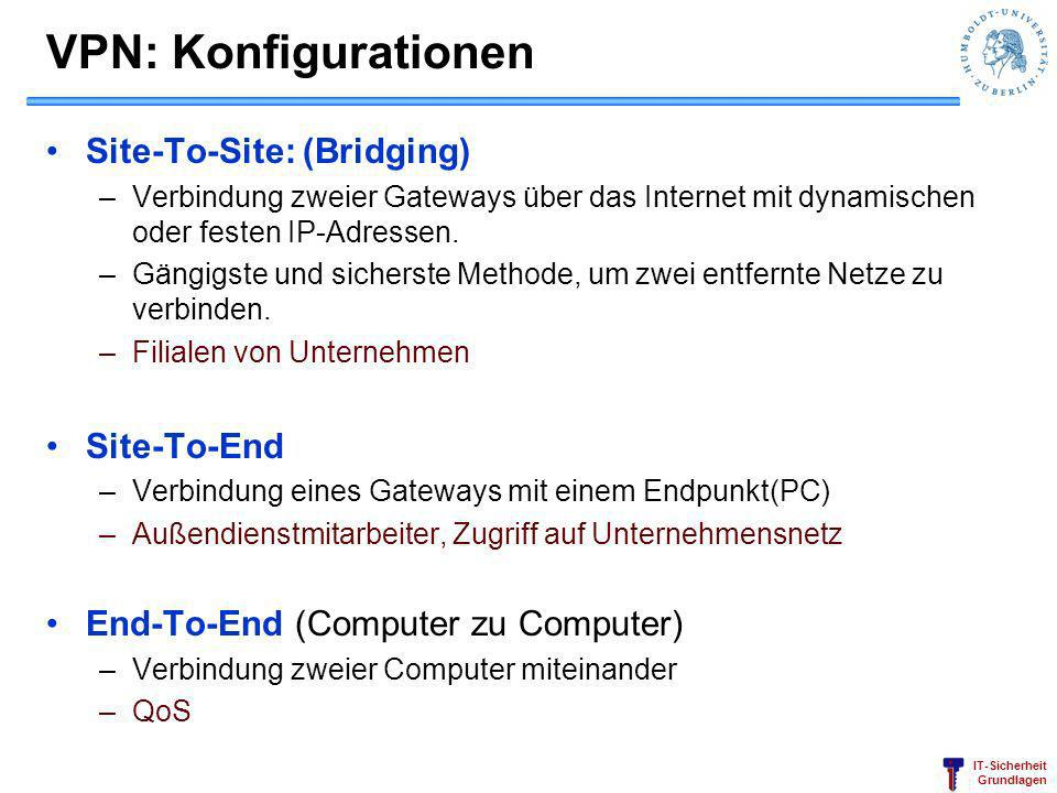 VPN: Konfigurationen Site-To-Site: (Bridging) Site-To-End