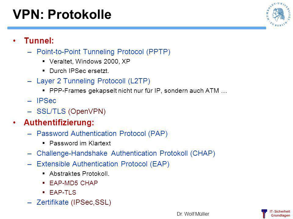 VPN: Protokolle Tunnel: Authentifizierung: