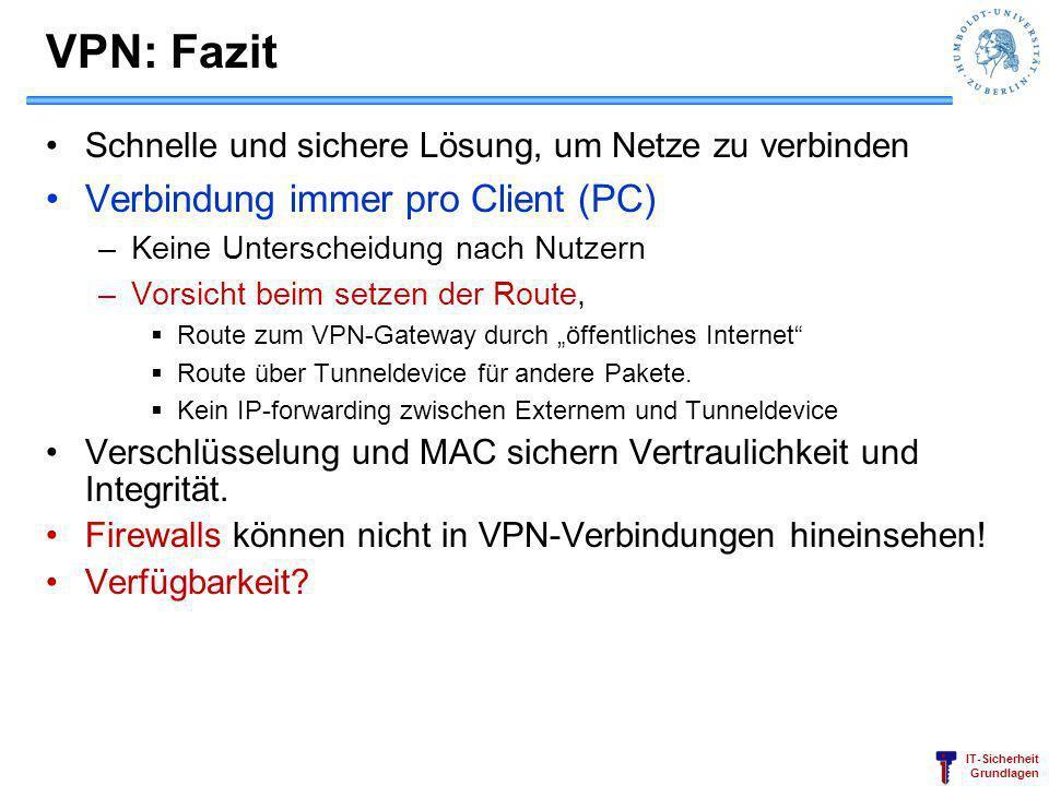 VPN: Fazit Verbindung immer pro Client (PC)
