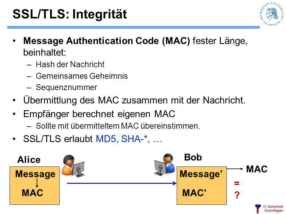SSL/TLS: Integrität Message Authentication Code (MAC) fester Länge, beinhaltet: Hash der Nachricht.