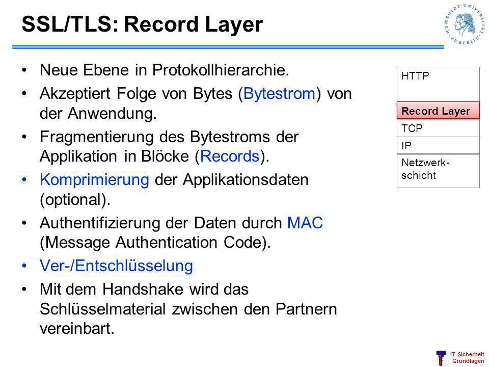 SSL/TLS: Record Layer Neue Ebene in Protokollhierarchie.