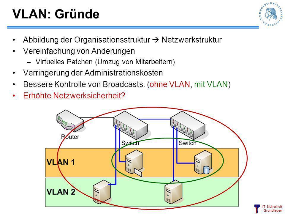VLAN: Gründe Abbildung der Organisationsstruktur  Netzwerkstruktur