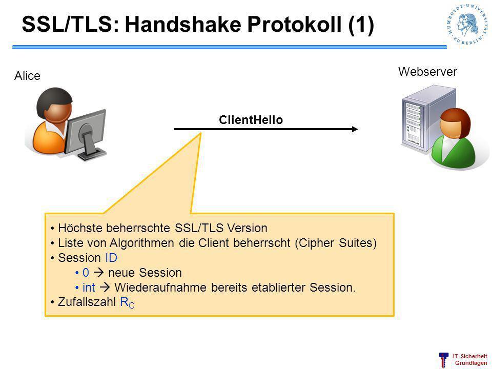 SSL/TLS: Handshake Protokoll (1)