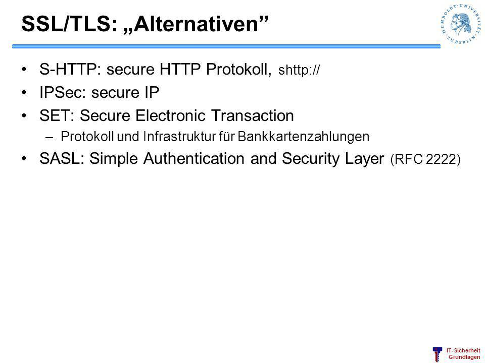 "SSL/TLS: ""Alternativen"