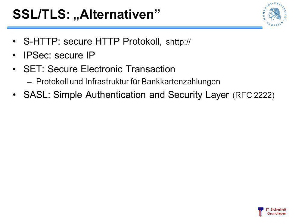 """SSL/TLS: """"Alternativen"""