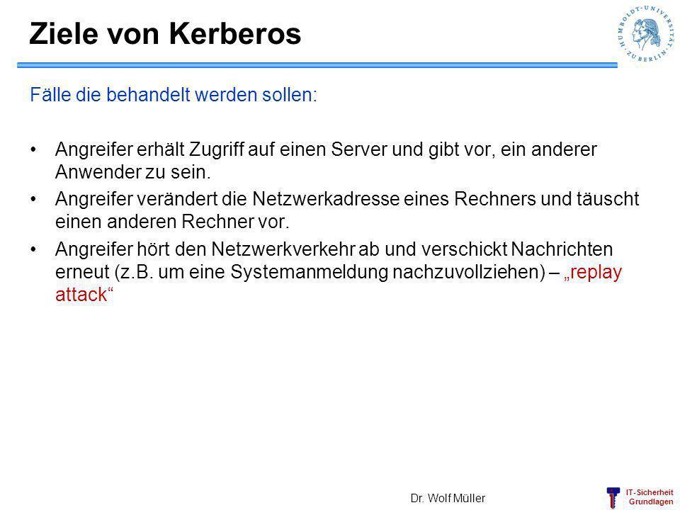 Ziele von Kerberos Fälle die behandelt werden sollen: