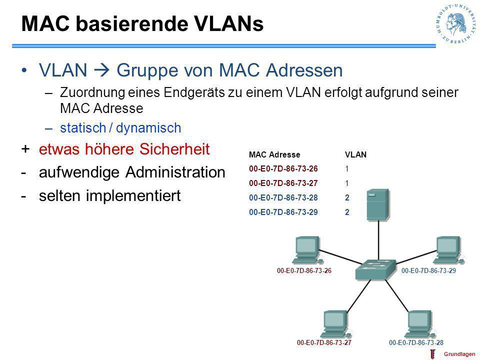 MAC basierende VLANs VLAN  Gruppe von MAC Adressen