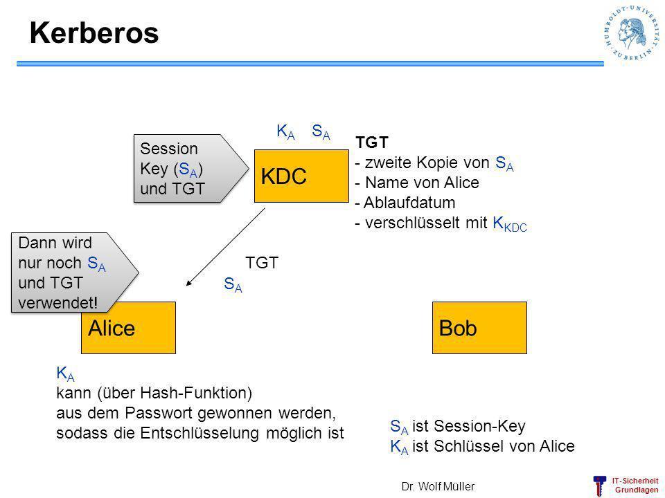 Kerberos KDC Alice Bob KA SA TGT zweite Kopie von SA Name von Alice