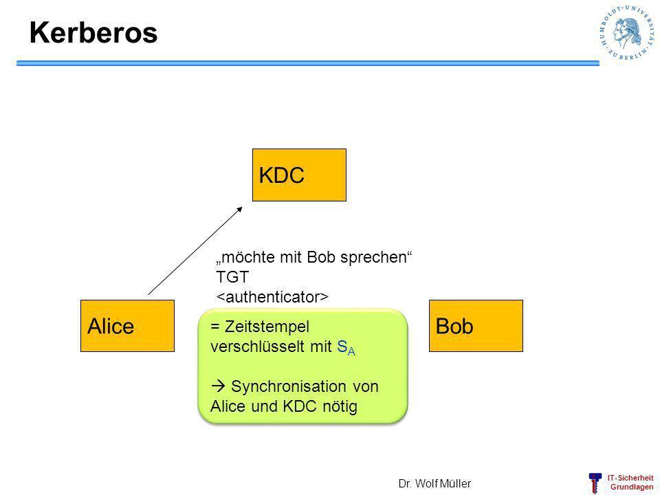 "Kerberos KDC Alice Bob ""möchte mit Bob sprechen TGT"