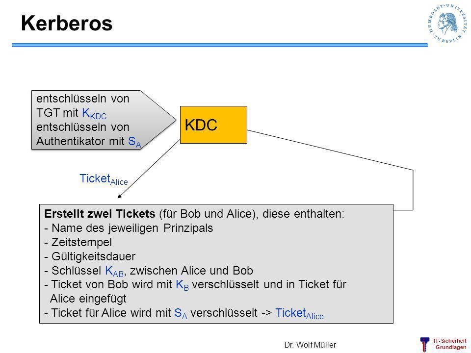 Kerberos KDC Alice Bob entschlüsseln von TGT mit KKDC