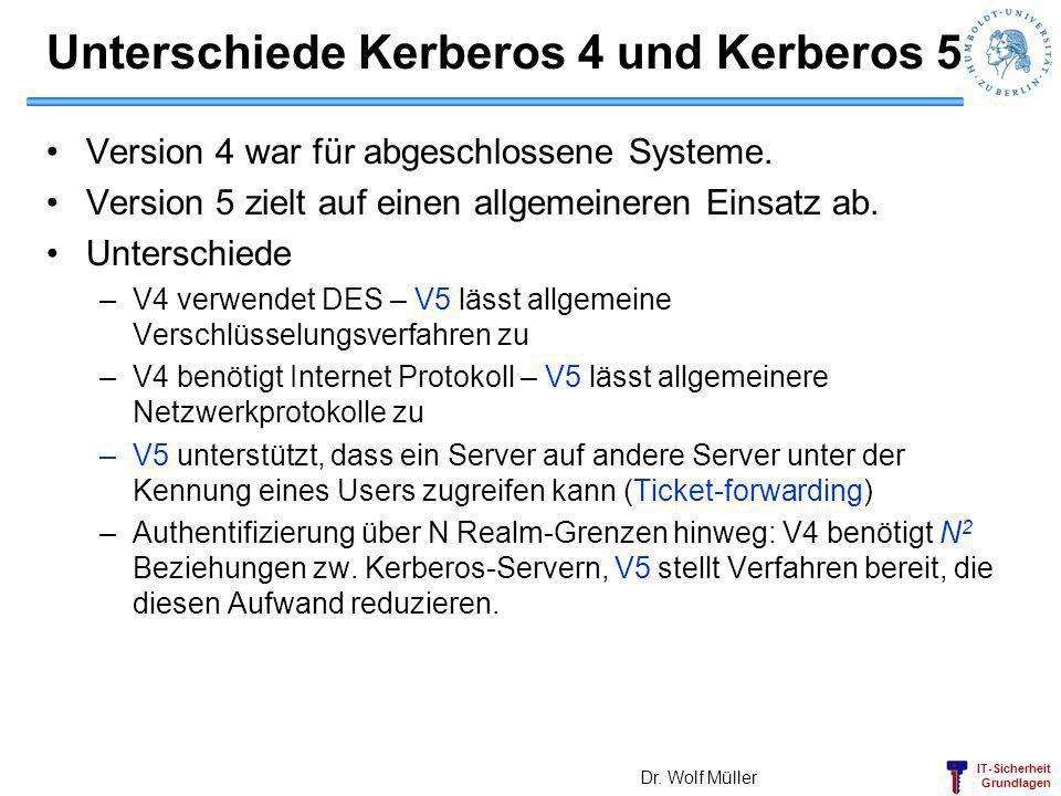 Unterschiede Kerberos 4 und Kerberos 5