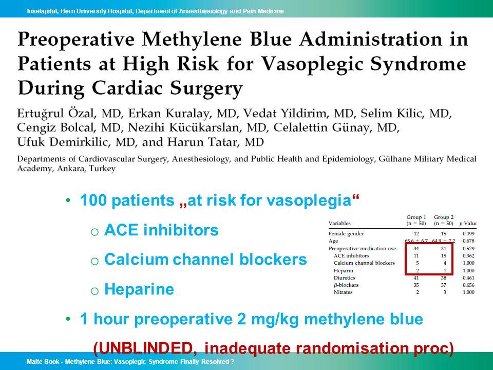 "100 patients ""at risk for vasoplegia ACE inhibitors"