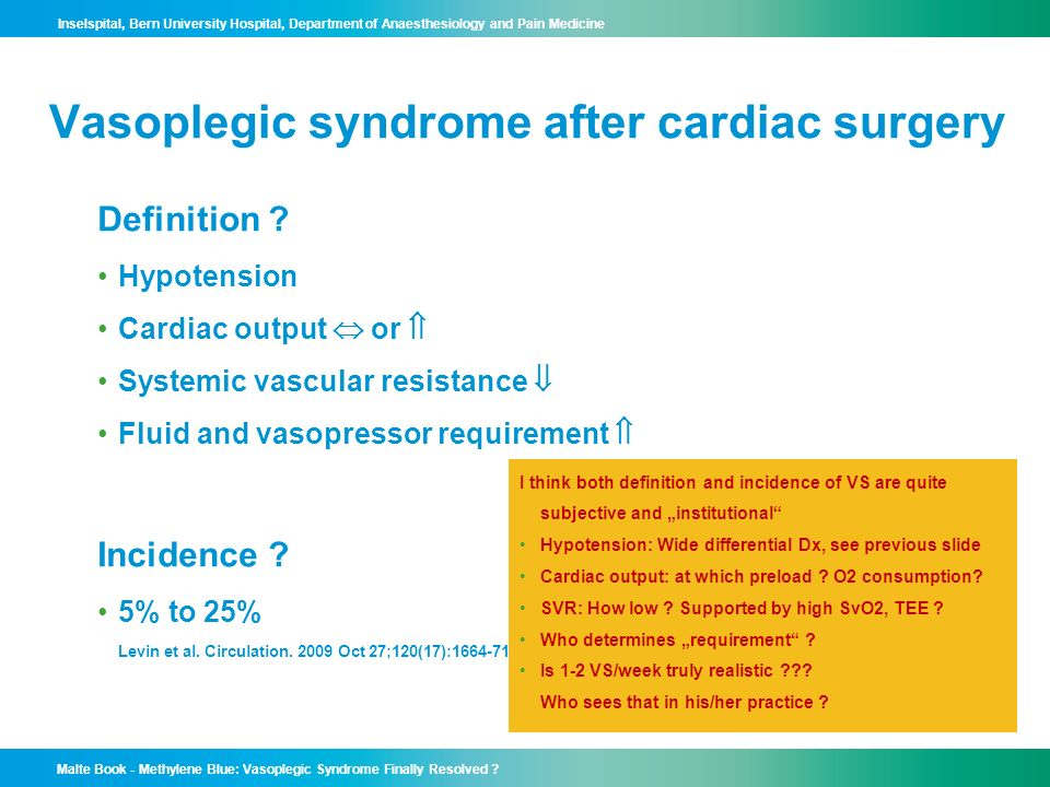 Vasoplegic syndrome after cardiac surgery