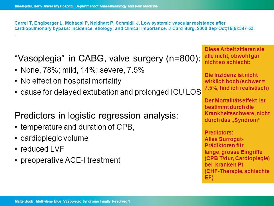 Vasoplegia in CABG, valve surgery (n=800):