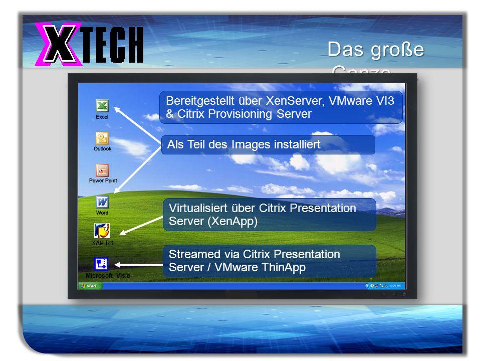 Das große Ganze … Bereitgestellt über XenServer, VMware VI3 & Citrix Provisioning Server. Als Teil des Images installiert.