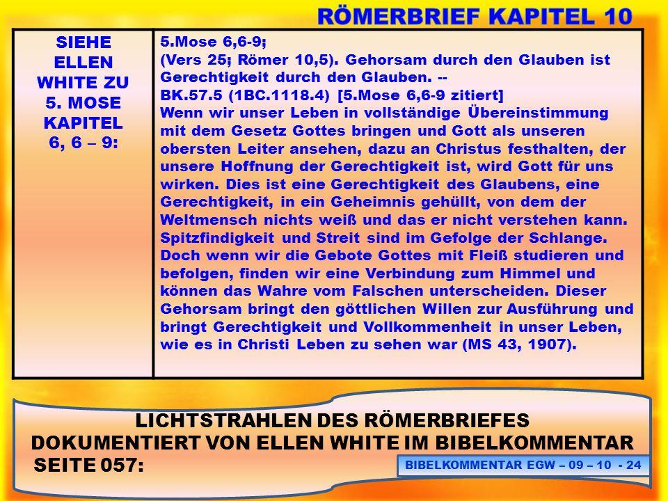 RÖMERBRIEF KAPITEL 10 LICHTSTRAHLEN DES RÖMERBRIEFES